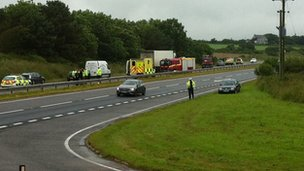 Scene of the accident on the A30