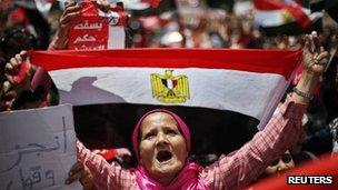 Opposition supporter in Tahrir Square, Cairo (2 July 2013)