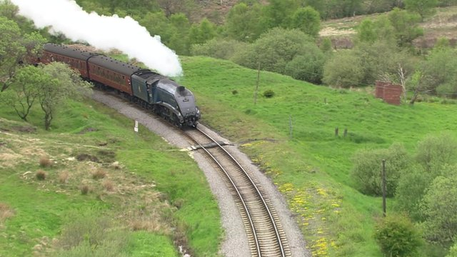 An A4 Class locomotive on the North York Moors railway