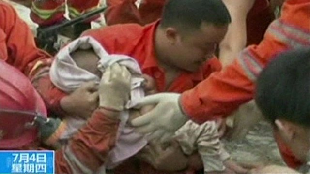 Baby rescue footage from Chinese TV