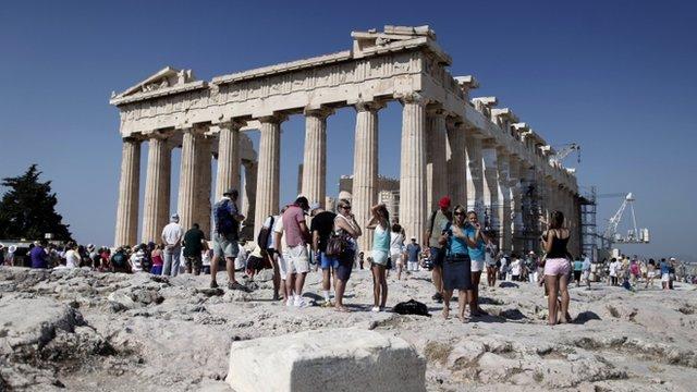 Tourists at Parthenon