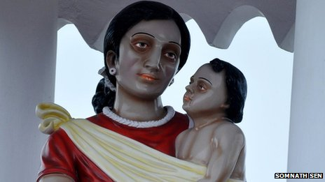 The controversial statue of Virgin Mary and baby Jesus