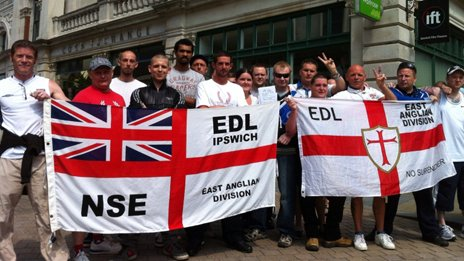 EDL supporters in Ipswich