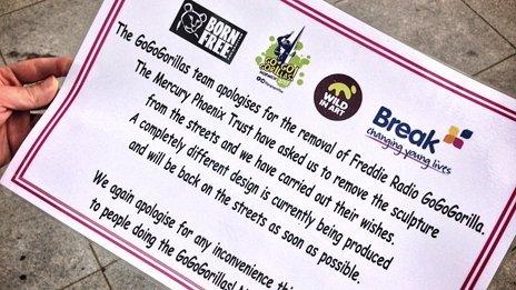 Notice explaining the removal of Freddie Mercury Go Go Gorilla