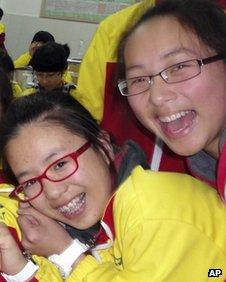 Undated photo of Ye Mengyuan, left, and Wang Linjia in a classroom in Jiangshan city in eastern China's Zhejiang province