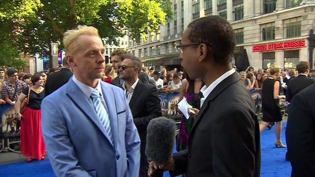 Lizo Mzimba speaking to Simon Pegg