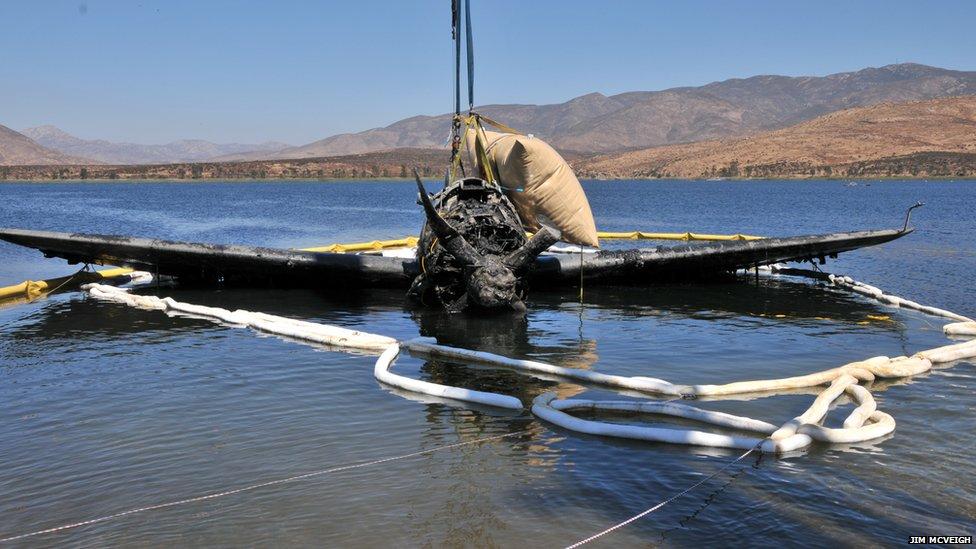 Curtiss SB2C Helldiver being retrieved from Otay Lake, near San Diego, California