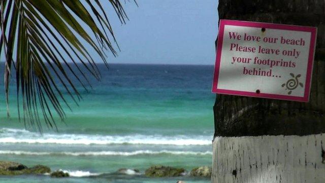 Barbados beach sign