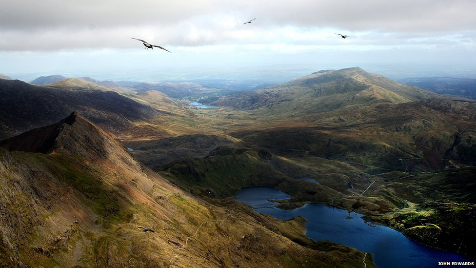 View from the summit of Mount Snowden in Wales