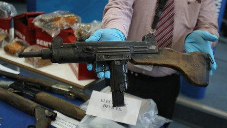 An UZI 9mm sub machine gun was recovered during the searches