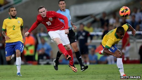 Wayne Rooney scores England's second goal in the international friendly against Brazil in Rio in June