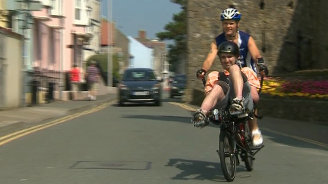 Gareth Scotcher and Nicky Rees training for the Long Course Weekend challenge in Tenby