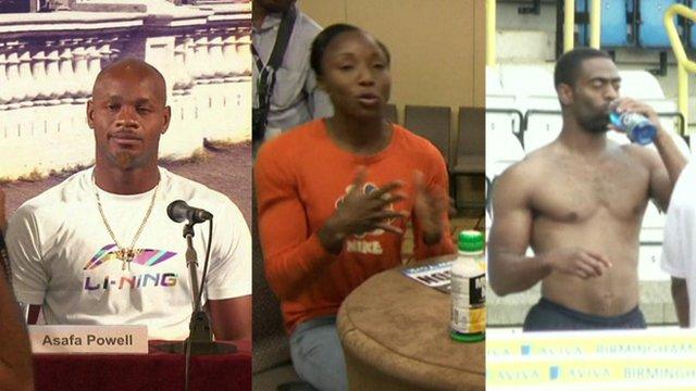 Asafa Powell, Sherone Simpson and Tyson Gay