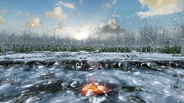 "An artist's impression of Warren Field about 10,000 years ago showing burning material in one of the ""calendar's"" pits"