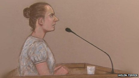 Court artist sketch of Magdelena Luczak giving evidence
