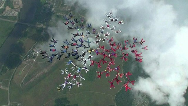 The skydivers in formation