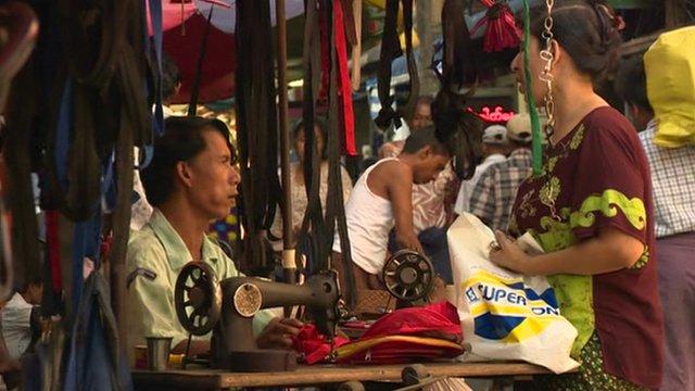 Market scene in Burma