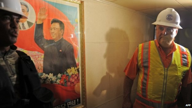 Panamanian President Ricardo Martinelli is seen inside North Korean vessel Chong Chong Gang