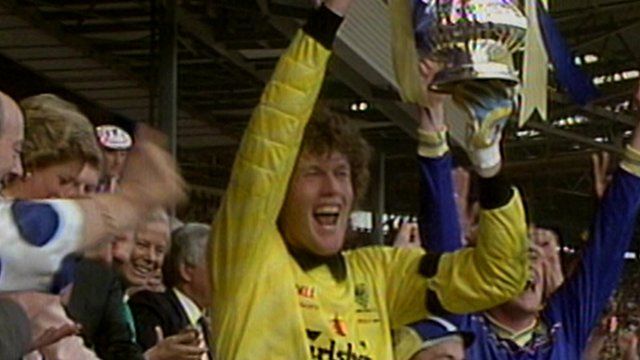 Dave Beasant lifts the FA Cup for Wimbledon in 1988