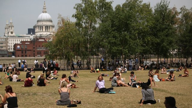 Sunbathers near St Paul's