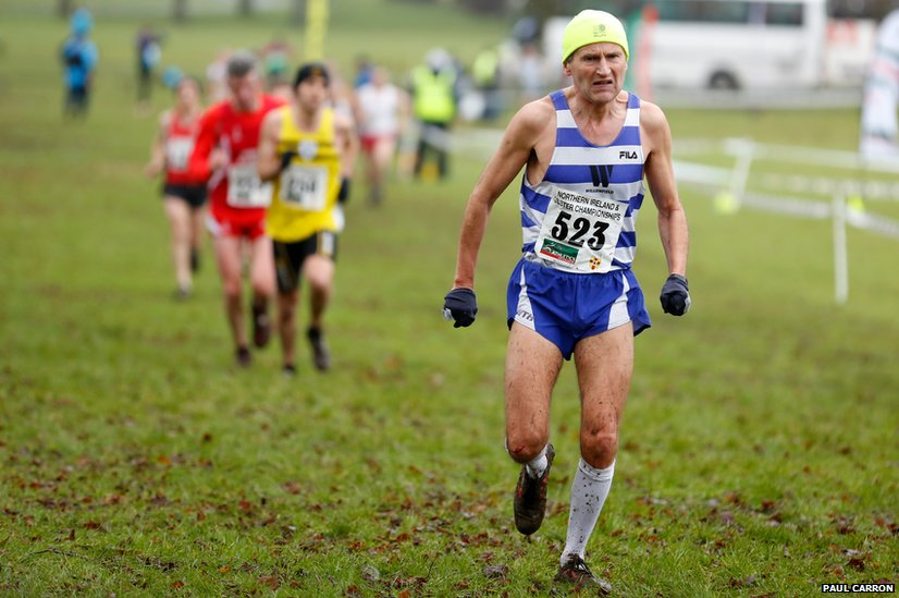 A competitor competes in the Northern Ireland Masters Cross Country