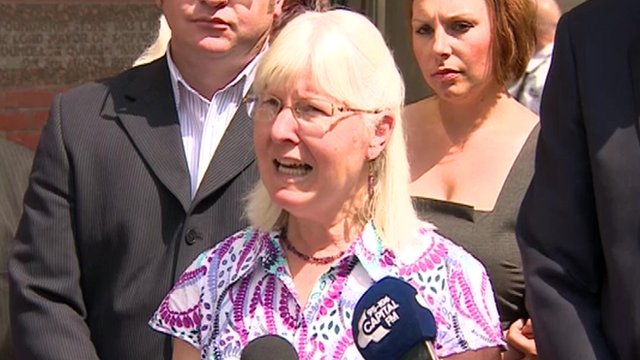 Maureen Greaves speaking to reporters after the verdict