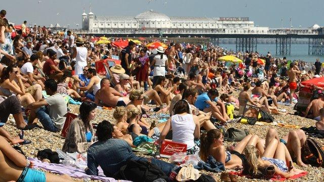 People on Brighton beach