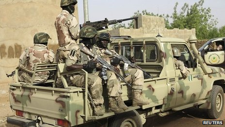 Nigerian troops in Banamba, Mali. 9 April 2013