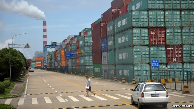 Containers stacked up in Ningbo port