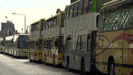 Buses outside Nottingham railway station