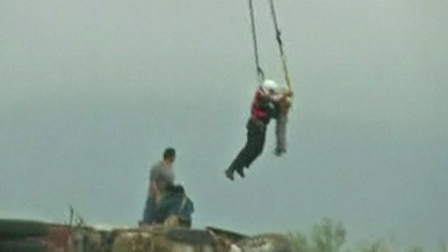 Child airlifted to safety