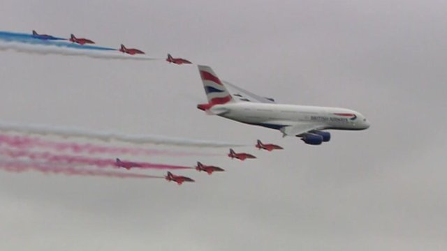A380 with red arrows flypast at RAF Fairford, Sat 20 July 2013