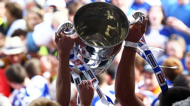 The Anglo Celt Cup is lifted at Clones by Monaghan players