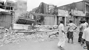 Merchants return to their burned out businesses in the Pettha area of downtown Colombo, Sri Lanka, 1 Aug 1983