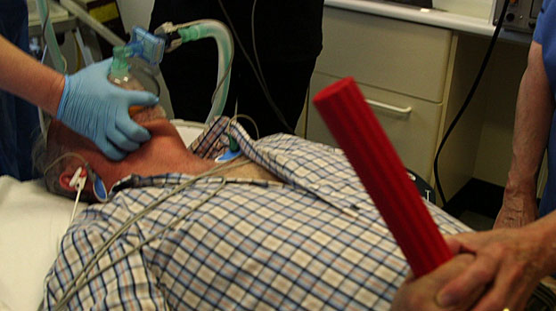 Patient being manually ventilated