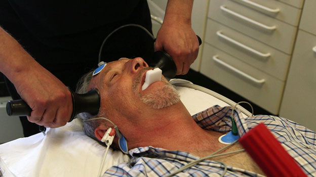 ECT shock being applied to patient