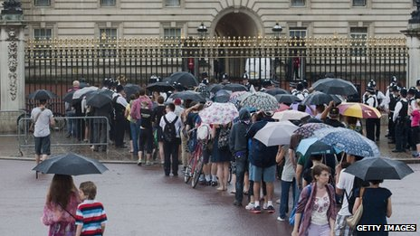 Members of the public and tourists are queuing in the rain outside Buckingham Palace to get a glimpse if the easel