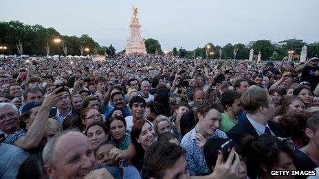 Crowds flocked to Buckingham Palace to celebrate the news