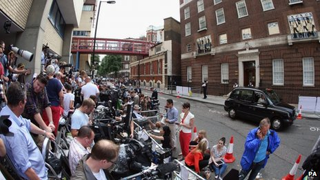 The public - along with members of the global press - are waiting for a first glimpse of the royal baby outside the hospital