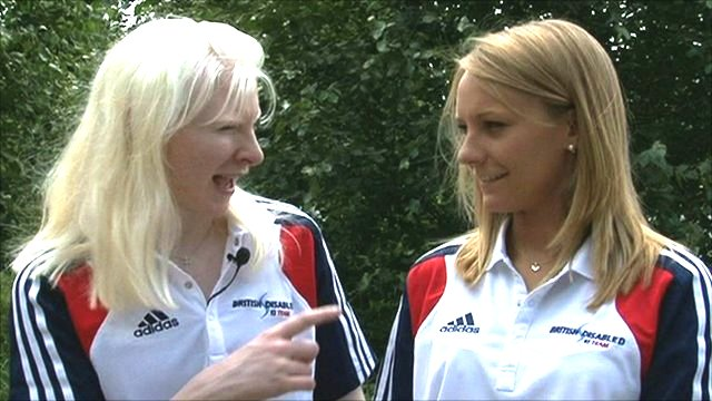 Visually impaired skier Kelly Gallagher and guide Charlotte Evans