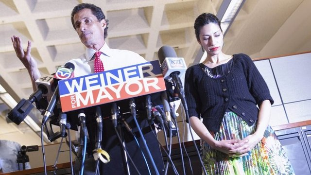Anthony Weiner, a leading candidate for New York City mayor, and Huma Abedin at a press conference in New York City on 23 July 2013