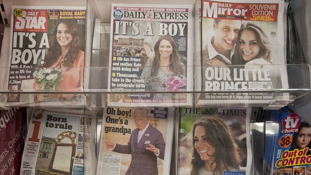 Newspaper front pages with news of royal baby birth