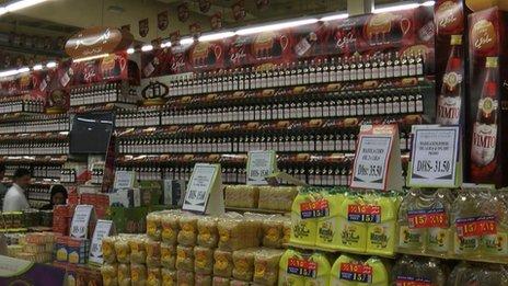 Vimto on shelf in supermarket