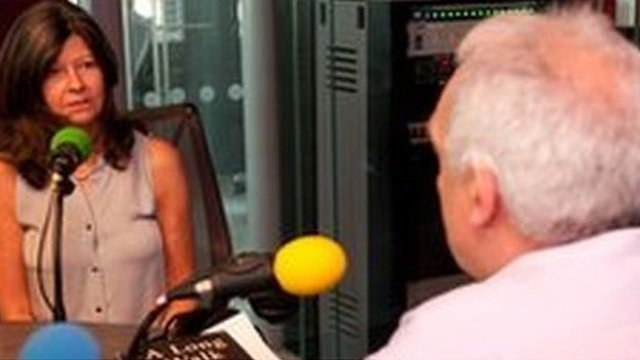 Judith Tebbutt (l) and Dan Damon (r) in a radio studio at New Broadcasting House in London