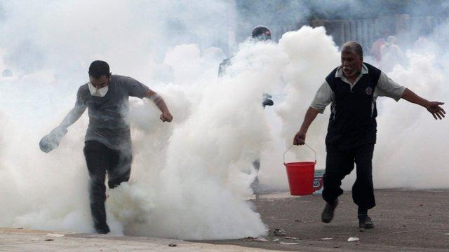 Tear gas on streets
