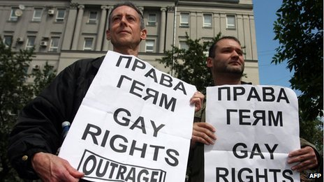 Peter Tatchell at a gay rights rally in Moscow in May 2008