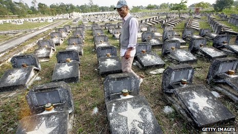 A Vietnamese man walks among graves for unidentified soldiers killed in the war