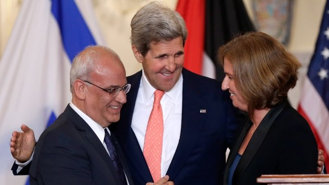 Saeb Erekat, Tzipi Livni and John Kerry