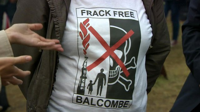 A protestor wearing an anti-fracking t-shirt