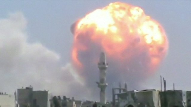 A still of an explosion in Homs, Syria - unverified footage